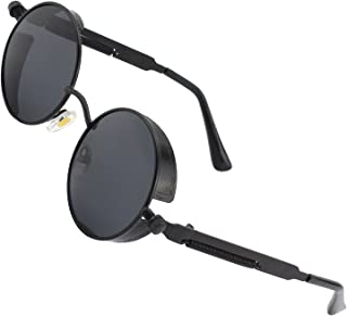 E72 Retro Steampunk Style Inspired Round Metal Circle Polarized Sunglasses for Women Men