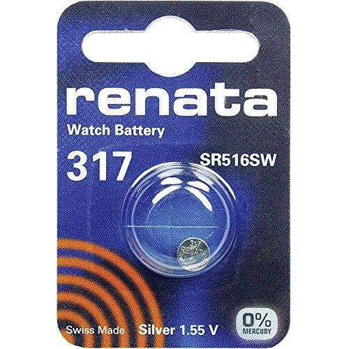 1 x Renata 317 Uhrenbatterien 1,55 V SR516SW SR516 SW SR62 SR62SW 10,5mAh