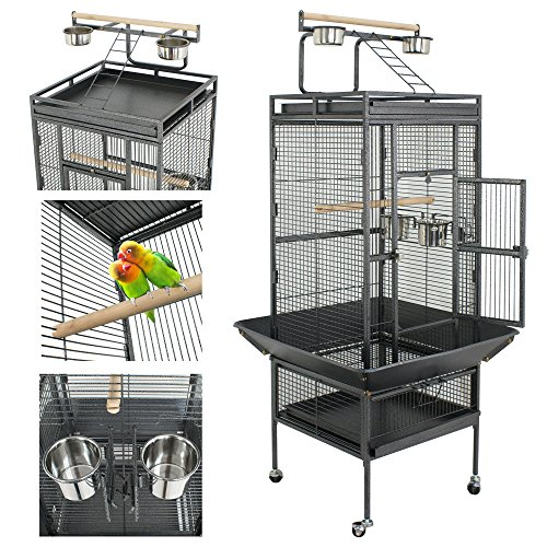 Super Deal 53'/61'/68' Extra Large Bird Cage w/ Play Top Parrot Chinchilla Cage Macaw Cockatiel Cockatoo Pet House, 61 inch