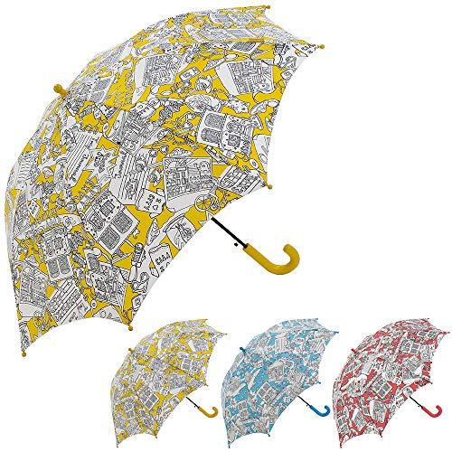 Bisetti Paint - Clima Paraguas Infantil Automático | Paraguas Antiviento Coloreable Ideal para Viajes, Niño y Niña, Amarillo