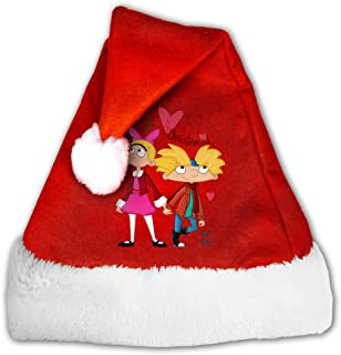 Santa Hat,New Year Party Supplies,Hey Arnold Gold Velvet Christmas Hat for Unisex