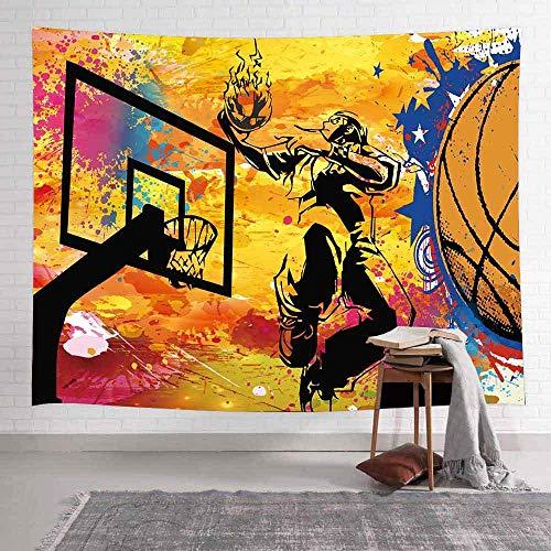 Tapiz de baloncesto callejero Tema deportivo Niños Fans Arte Tapices para colgar en la pared para la sala de estar Decoración del hogar Banner 150x100cm / 59x39inchch