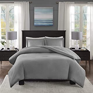 Madison Park Essentials Clay Duvet Cover Full/Queen Size - Blue , Solid Duvet Cover Set – 3 Piece – Ultra Soft Microfiber ...