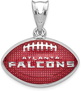 NFL Sterling Silver LogoArt Atlanta Falcons Enameled Football Pendant