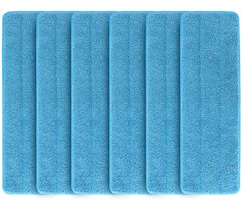 6 Pack Microfiber Spray Mop Replacement Heads, Machine Washable Cleaning Pads Refills Compatible with Bona Floor Care System