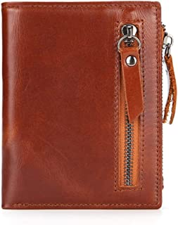 Mens Leather Bag Men's Wallet Short Wallet Multi-Function Zipper Bag Oil Wax Leather Bag (Color : Brown, Size : S)