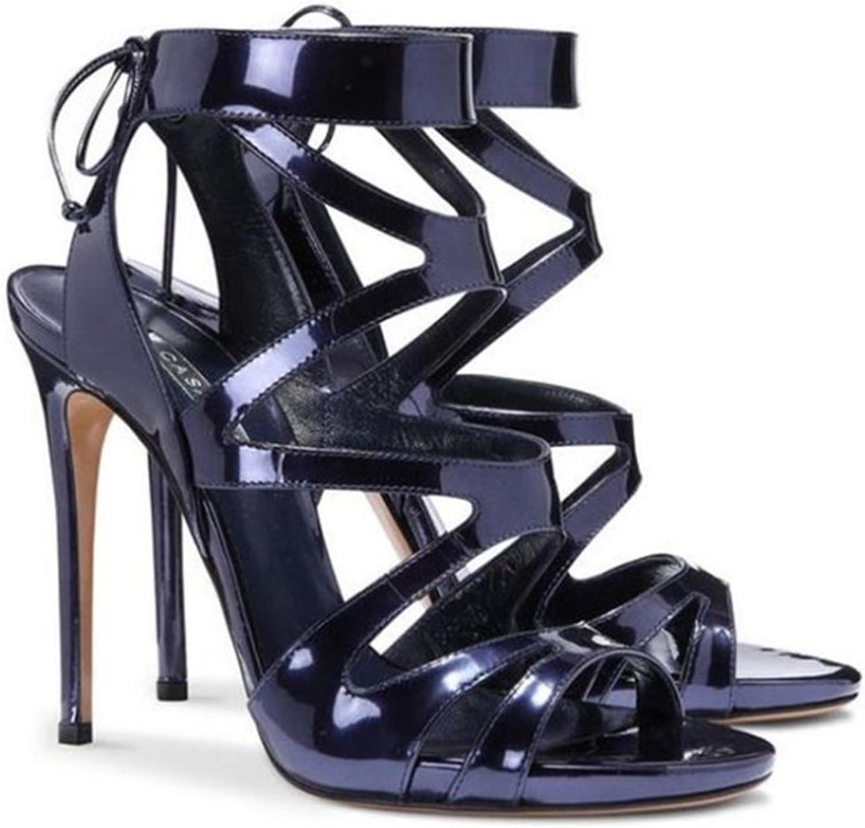 Kvinnliga skor, skor, skor, klackar, klackar, crystal ankle, blanka spännen, spännen, spännen, modekväll, Pump Court skor blå  äkta