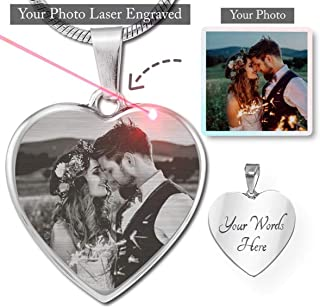 Customized Personalized Photo Laser Etched Heart - Silver Adjustable Luxury Necklace with Engraving Option - Put Your Favorite Picture on this Jewelry with Your Engraved Custom Message as a Special