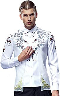 FANZHUAN Non Iron Shirts for Men Slim White Slim Fit Fashion Two in One Shirt
