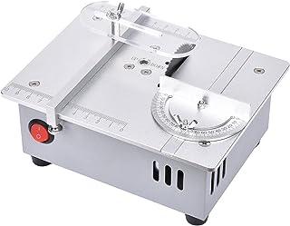 卓上まるのこ ミニテーブルソー 電動丸鋸 小型 96W デュアルモーター 0-15mmの高さ調整 7段階変速 10cmスケール 切断 すべてのアルミ角定規 便利な収納 硬質素材 アクリル ボード PCBボード 卓上丸のこ盤