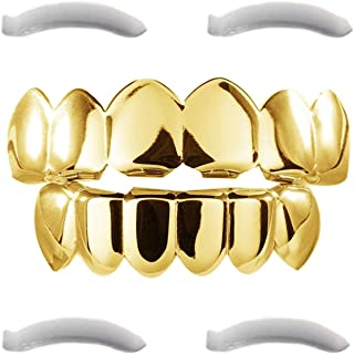 24K Plated Gold Grillz for Men and Women   Mouth Top Bottom Hip Hop Teeth Grills   + 2 Extra Molding Bars + 1 Storage Case + 1 Microfiber Cloth