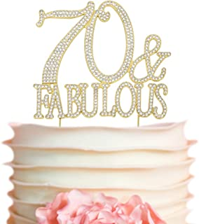 Gold Glitter Hello 70-70 /& Fabulous Cake Topper Happy 70th Birthday Cake Topper