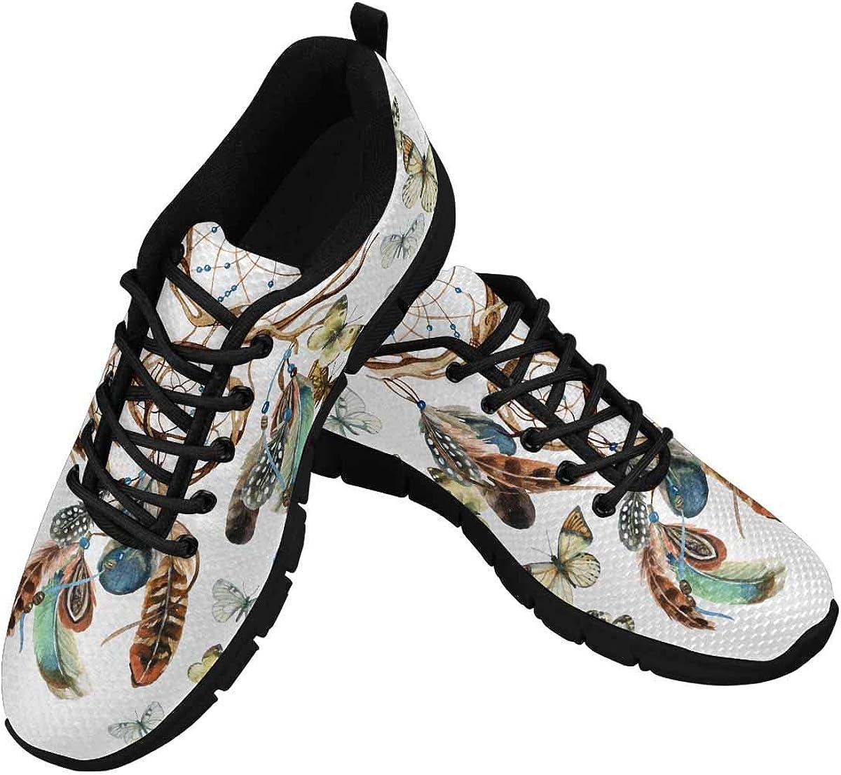 INTERESTPRINT Dreamcatcher and Butterflies Women's Athletic Walking Shoes Breathe Comfort Mesh