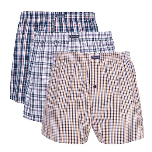 VANEVER 3 PK Men's Woven Boxershorts, 100% Cotton Underwear Boxers Short for Men, Button Fly, Navy XL