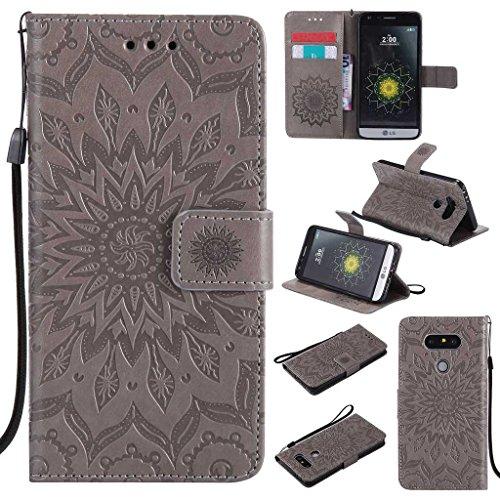 KKEIKO Hülle für LG G5, PU Leder Brieftasche Schutzhülle Klapphülle, Sun Blumen Design Stoßfest Handyhülle für LG G5 - Grau