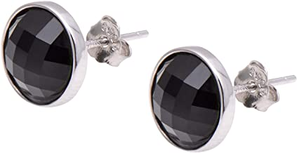 4mm Genuine Black Onyx Round Stud Earrings White Gold Silver