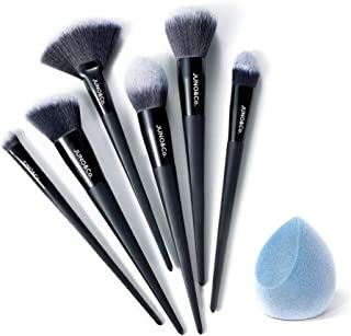 JUNO & Co. Microfiber Velvet Sponge, Latex-Free, Dual Layer Technology, Flawless Makeup Blender for Foundations, Powders and Creams (Velvet Sponge & Essential Brush Bundle)