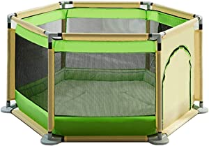 YEHL Playpen Baby with Balls 6-Panel Play Yard Children s Game Fence Indoor Kid s Safety Activity Center Toddler Crawling Mat  Color Green rice