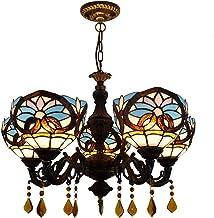 5 Head Chandelier European Retro Creative Tiffany Color Glass Love Baroque Lighting Bar Coffee Restaurant Crystal Chandeli...