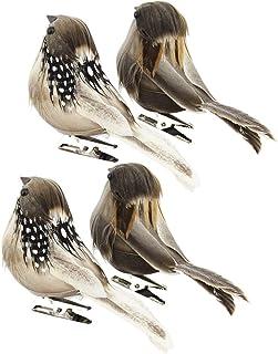 Nuobesty Lot de 4 figurines d'oiseaux artificiels en plumes - Avec clip - Décoration de Pâques - Pour la maison, le jardi...