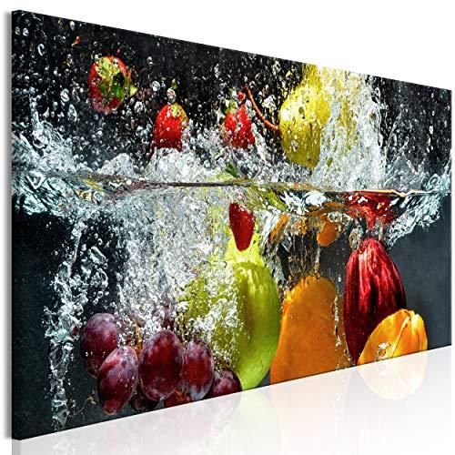 decomonkey Bilder Küche 120x40 cm XXL 1 Teilig Leinwandbilder Bild auf Leinwand Vlies Wandbild Kunstdruck Wanddeko Wand Wohnzimmer Wanddekoration Deko Obst Gemüse