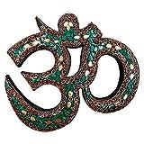 Snadi Escultura Om Color Verde - 8 '' 23 x 21 cm. Accesorios meditacion, Colgador de Pared con Gancho. Decoracion Hindu con Inserciones de Metal y pequeñas Piezas esmaltadas.