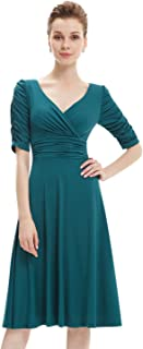 3/4 Sleeve Ruched Waist Classy V-Neck Casual Cocktail Dress 03632