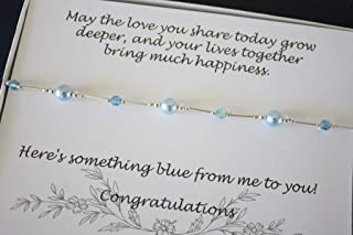 Something Blue Bride Gift Anklet, Sterling Silver and Blue Swarovski Pearl and Crystal Wedding