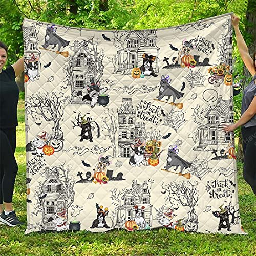 French Bulldog Quilt Blanket Halloween Town Ver 2 All Season Quilts Comforters Super King-Queen-Twin Size - Best Decorative Quilts for Couch Sofa Bedding Home Living
