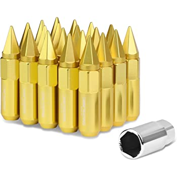 Gold Deep Drive Extension M12 x 1.5 Open//Closed End 20-Piece Aluminum Alloy Wheel Lug Nuts