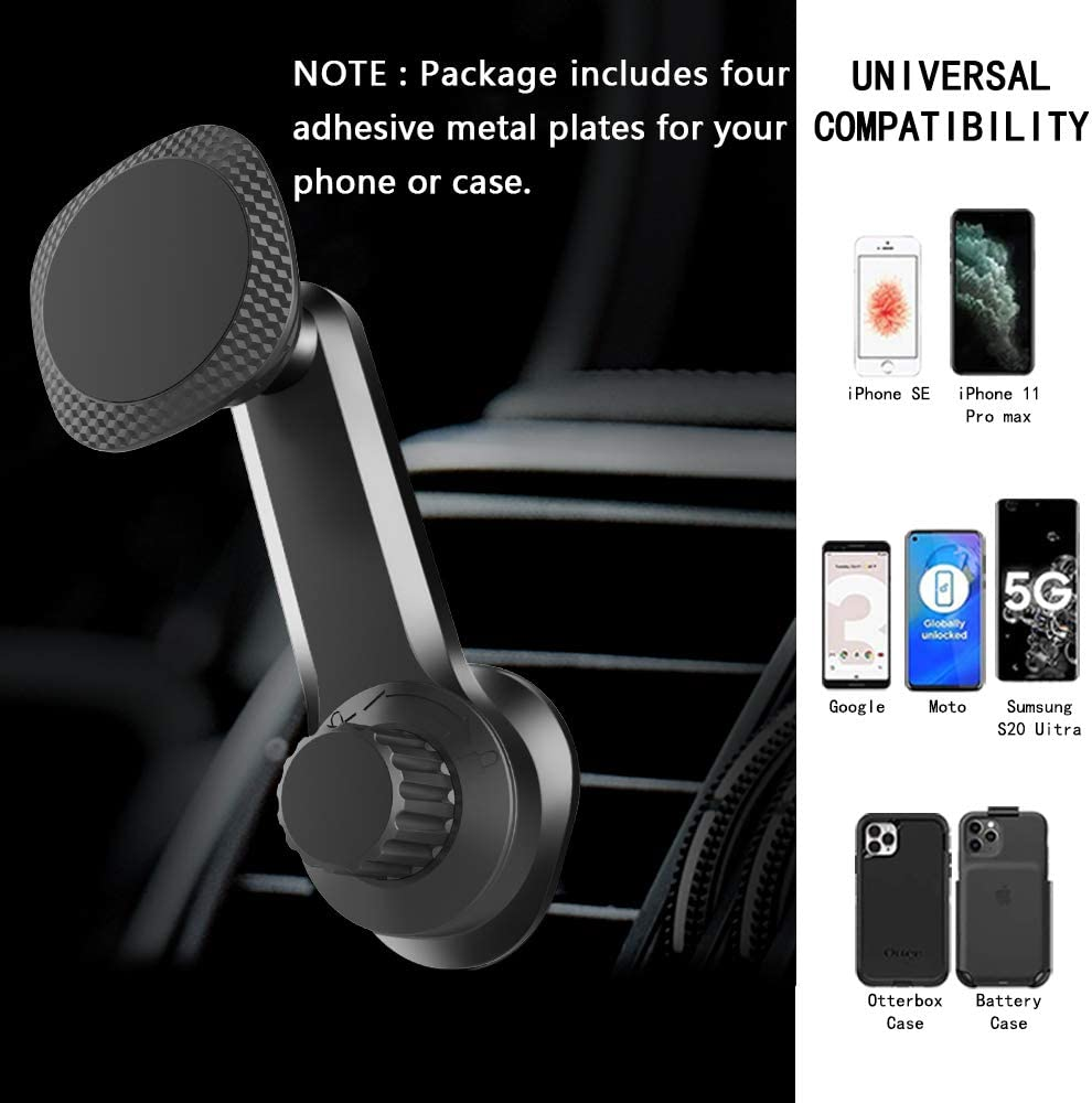 Mirai Magnetic Phone Car Mount Holder Car Air Vent Magnetic Cell Phone Holder with Upgraded Clamp and Strong Magnets for Car Compatible with 4-6.7 Inch Smartphone and Tablets