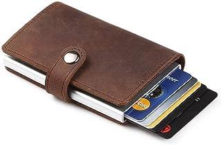 GingkoTree Credit Card Holder RFID Blocking Wallet Slim Wallet PU Leather Vintage Aluminum Business Card Holder Automatic Pop-up Card Case Wallet Security Travel Wallet (Dark Brown)