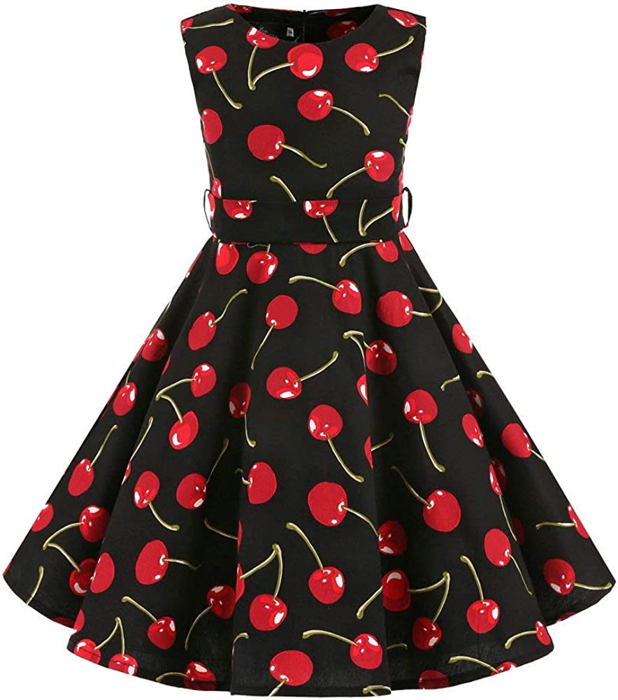 FREE FISHER Girls Vintage Dress,Summer Polka Dot A-Line Dress,50s Swing Rockabilly Dresses for Party Special Occasion