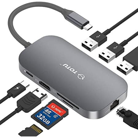 TOTU USB C Hub,9-In-1 Type C Hub with Ethernet Port, 4K USB C to HDMI, 2 USB 3.0 Ports, 1 USB 2.0 Port, SD/TF Card Reader, USB-C Power Delivery, Portable for Mac Pro and Other Type C Laptops (Silver)