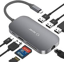 USB C Hub, TOTU 8-In-1 Type C Hub with Ethernet Port, 4K USB C to HDMI, 2 USB 3.0 Ports, 1 USB 2.0 Port, SD/TF Card Reade...