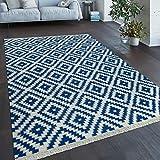Paco Home Tessuto A Mano Trendy Tappeto Moderno Design Marocchino Frange in Azzurro Bianco, Dimensione:200x300 cm