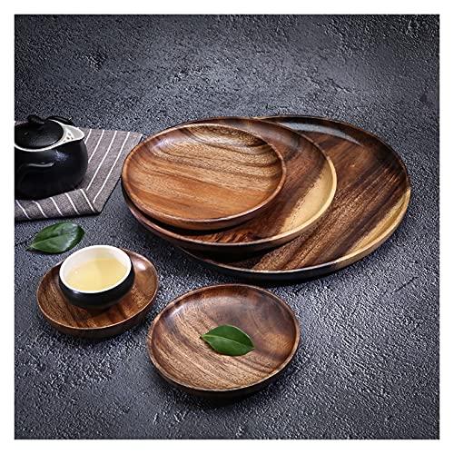 1 ORDENADOR PERSONAL Bandeja de almacenamiento de alimentos plato plato fruta platos platillo té bandeja postre cena pan platos de madera (Color : 15x2CM)