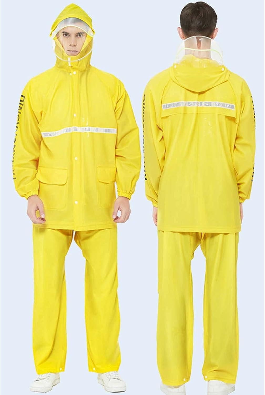 FHGH 2PCS Adult Split Raincoat, PVC Reflective Raincoat and Rain Pants Suit, Detachable Brim Design, for Fishing/Cycling,F,XLarge