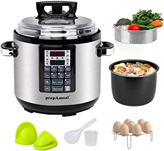 prepAmeal 6QT 11-IN-1 ( 3 Speeds Options ) Pressure Cooker with Accessories Set, Multi-Use Programmable Instant Cooker Pressure Pot with 16 Smart Programs, Slow Cooker, Rice Cooker, Steamer, Sauté, Yogurt Maker, Warmer, Hotpot
