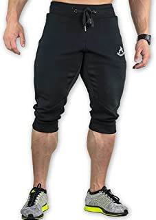 Shakestron Mens Gym Shorts Below Knee Slim Fit 3/4 Joggers Workout Capri Pants Athletic with Pockets