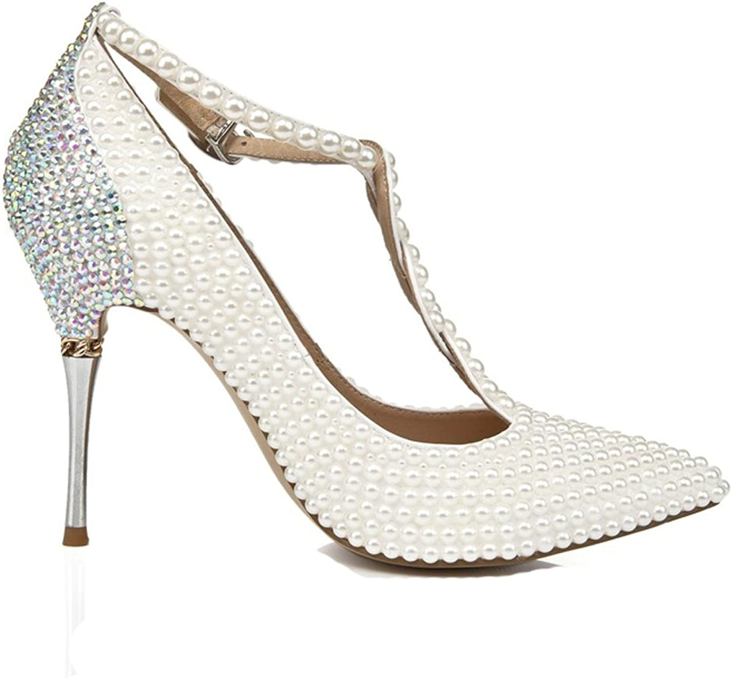 MCandy Bride Pearls Wedding Party shoes Prom Dance Dress Stiletto Leather Pumps