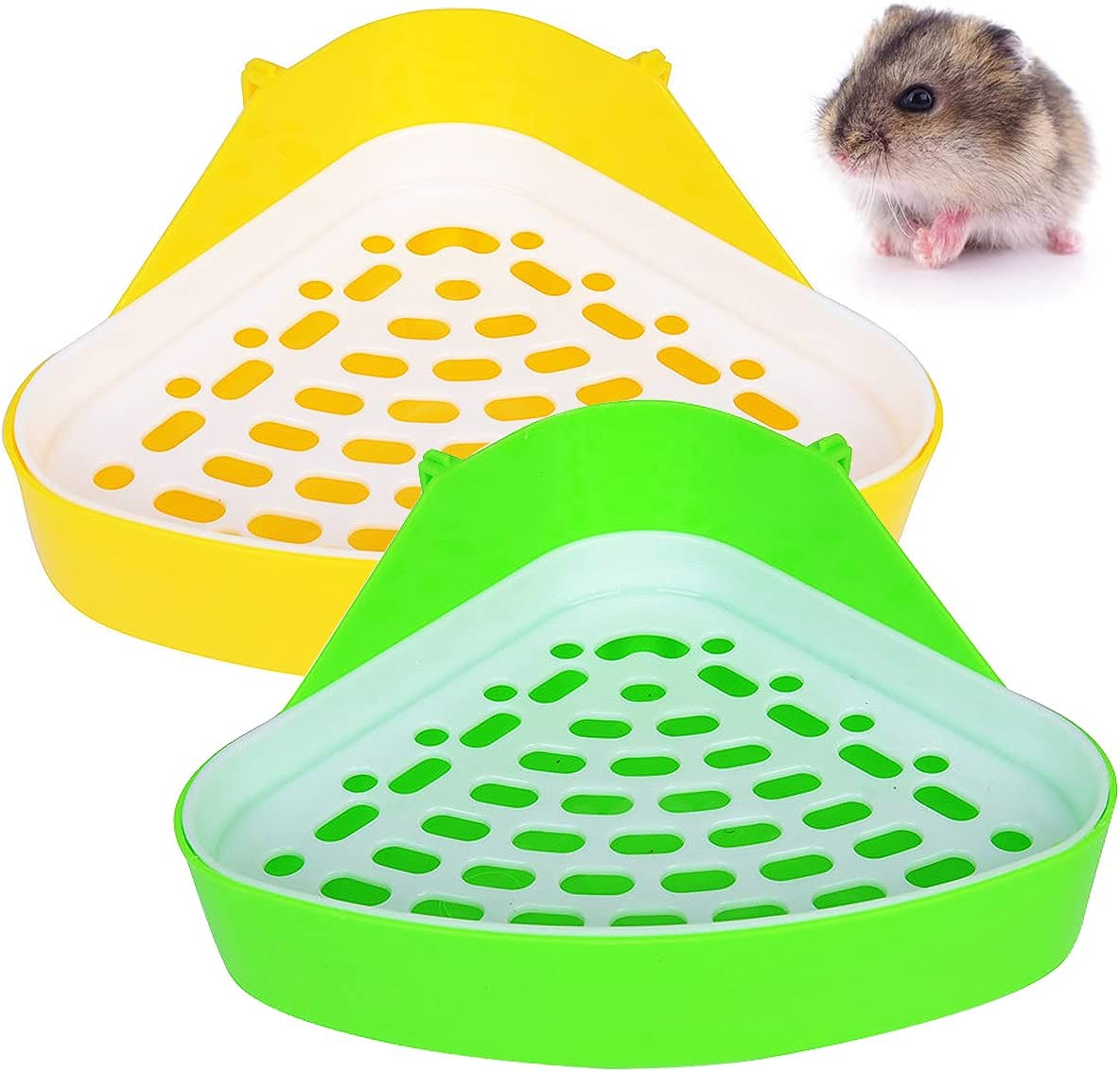 2 piezas de inodoro para animales pequeños, inodoro triangular para animales pequeños, inodoro para mascotas, para animales pequeños, hámsteres chinchillas cobayas conejos hurones (verde y amarillo)