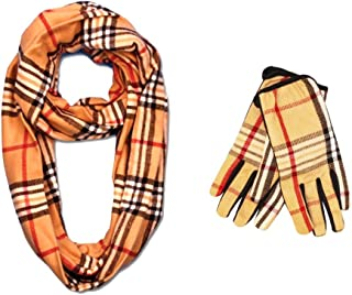 Classic Cashmere Feel Winter Infinity Scarf in Rich Plaids Matching Touch Screen Gloves