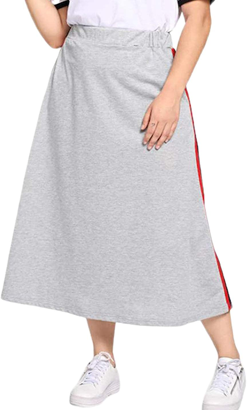 Uaneo Women's Oversized Casual Elastic Waist A-Line Flared Midi Swing Skirt