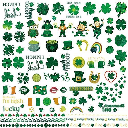 St.patrick Day Party Supplies,konsait St. Patrick's Day Tattoos Shamrock Irish Flag Temporary Tattoo Pot of Gold Tattoos for St patricks Party Favor Decor Decoration for Man Women Kids (163Designs)