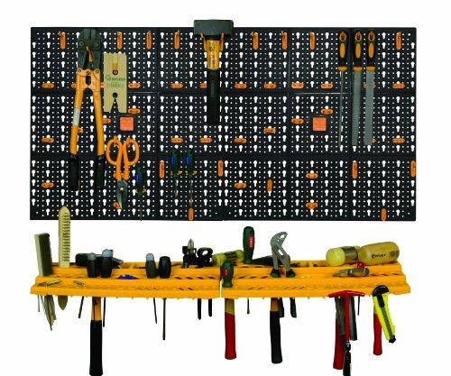 Werkzeug-Regal für Garagenwand, Aufbewahrungsset, Organizer, Ablagen inkl. 50Haken - 2