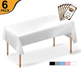 6 Pack Premium Disposable Plastic Tablecloth | 54x108 Inch Rectangle | Reusable Washable | Plastic Table Cover for | Parties | Events | Occasions (White)