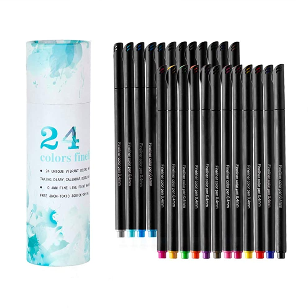 Dream Show Double-Tip Brush Marker Pen, Brush Highlighter Pen Set 24 Piece Bullet Diary Magazine Adult Coloring Book Calligraphy Letters and Other Art Projects.
