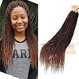 Bellqueen 3Packs Micro Senegalese Twist Crochet Hair 22 inches Black Dark Brown Micro Braiding Hair Ombre Kanekalon Synthetic Crochet Braids 30Strands/Pack(T1B/30 3Packs)