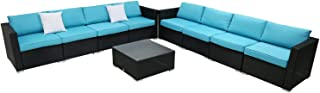 Kinbor 9PC Outdoor Sectional Sofa Set Rattan Wicker Patio Furniture Sofas with Washable Cushions & Modern Glass Coffee Table